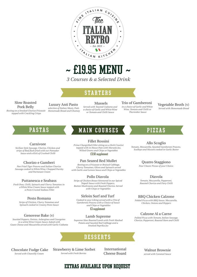 The Italian Retro Stanhope Road South Shields NE33 4SS £19.95 Menu