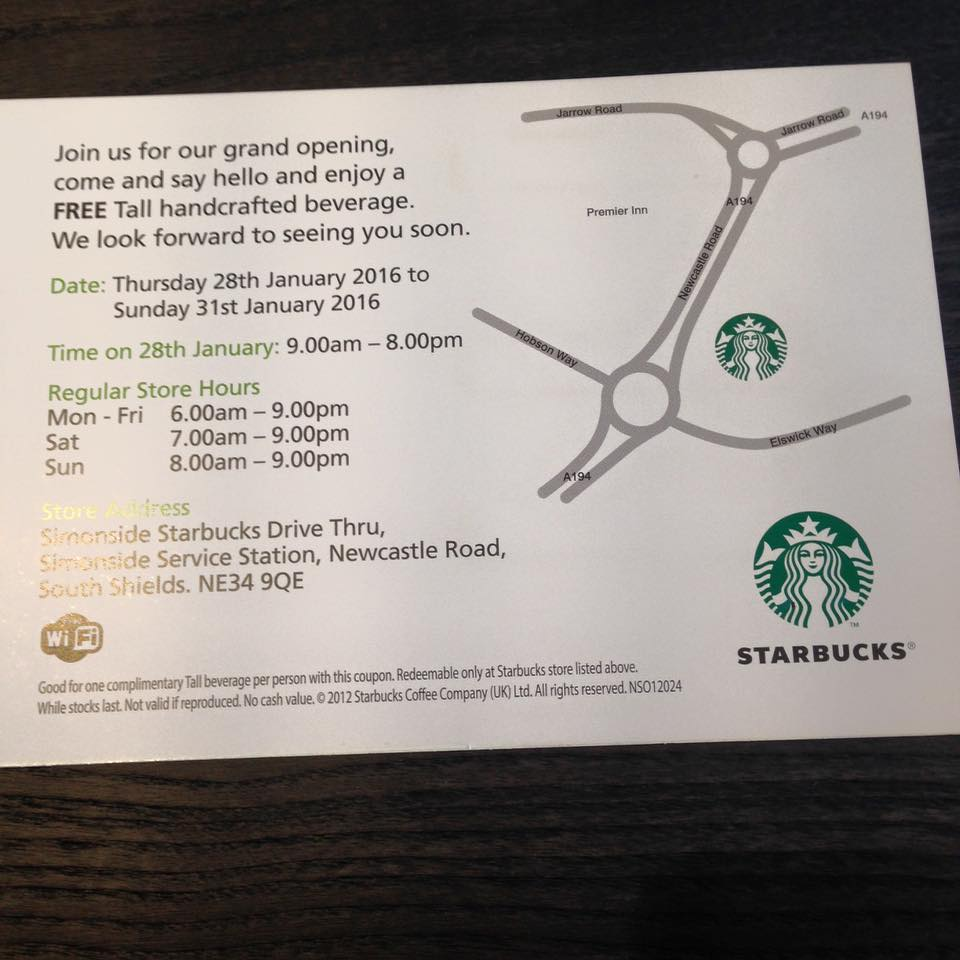 Starbucks Newcastle Road Simonside South Shields NE34 9QE Special Offer