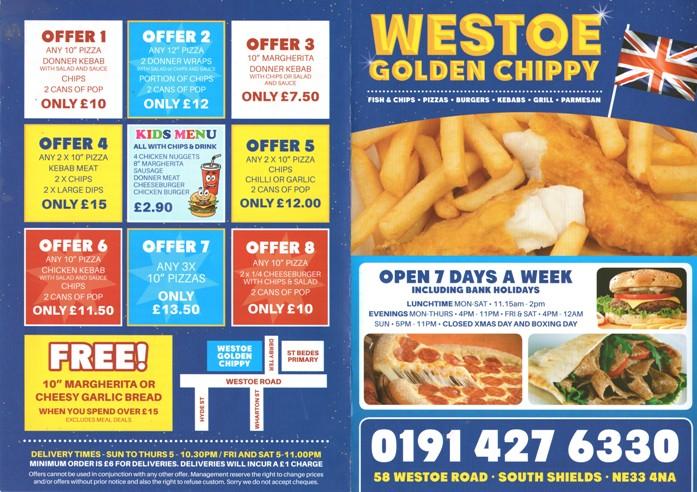 Westoe Golden Chippy 58 Westoe Road South Shields NE33 4NA Menu 1