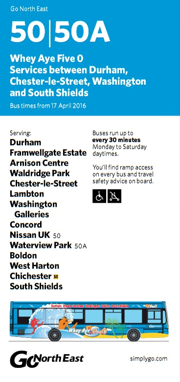 New Nissan Sunderland Bus Timetable SR5 3NS 17th April 2016