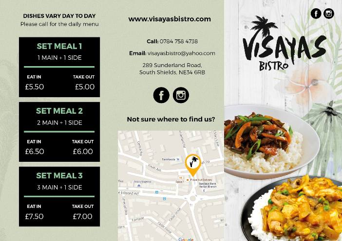 Visayas Bistro 289 Sunderland Road South Shields NE34 6RB Menu 1