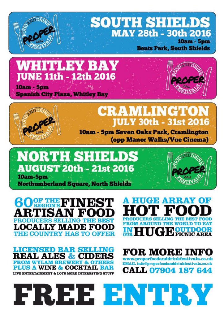 Proper Food And Drink Festival Flyer 2016 Bents Park South Shields NE33 2LD