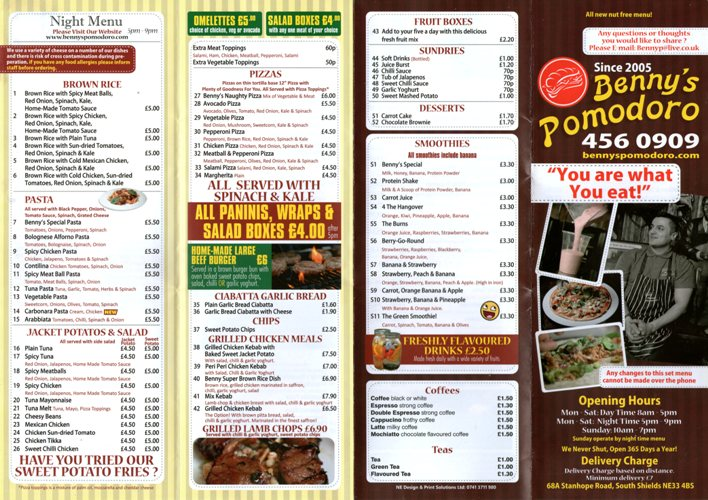 Benny's Pomodoro 68A Stanhope Road South Shields NE33 2BS Menu 1