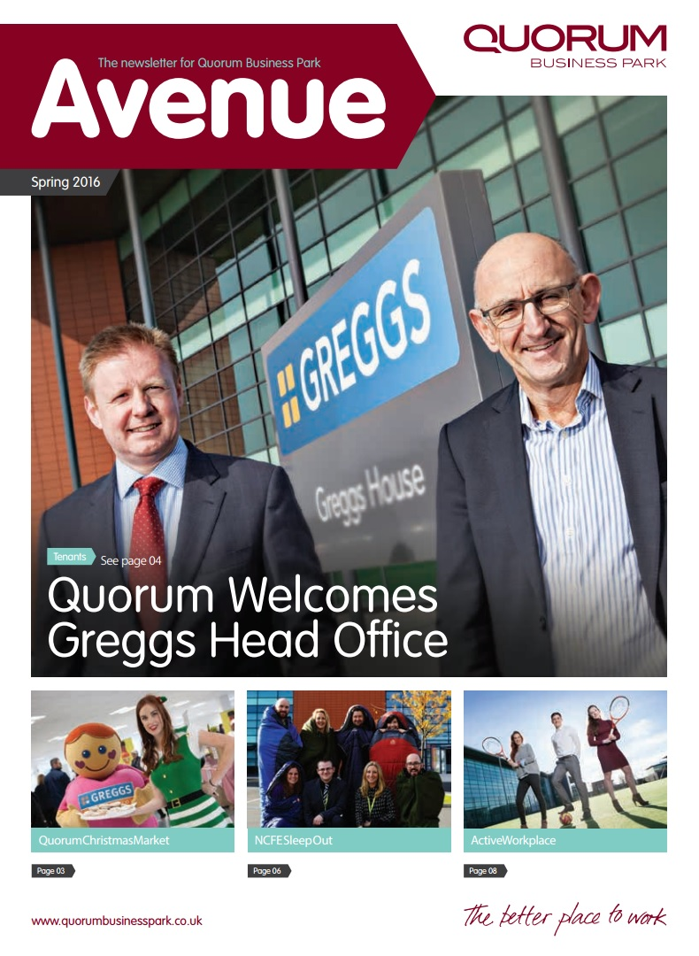 Quorum Business Park Newsletter Spring 2016 Cover