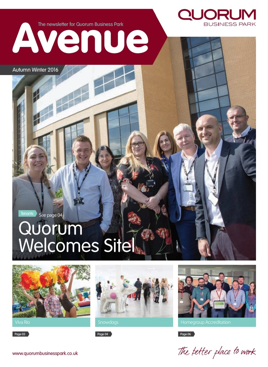 Quorum Business Park Newsletter Autumn 2016 Cover
