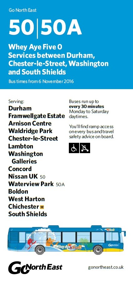 New Nissan Sunderland Bus Timetable SR5 3NS 6th November 2016