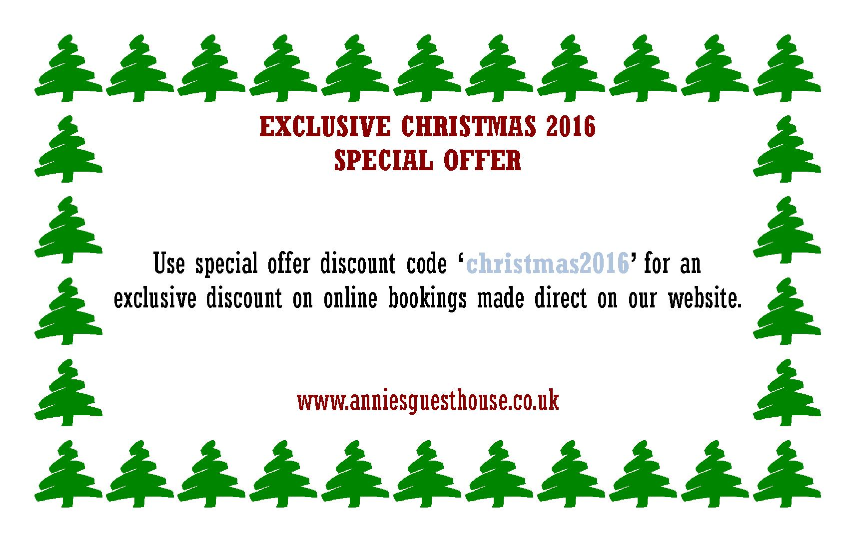 Annie's Guest House Special Offer Christmas 2016