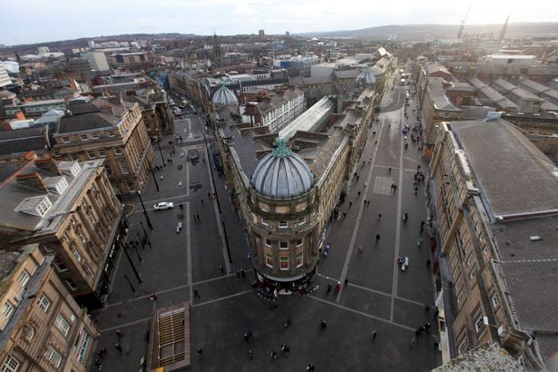 View From Top of Grey's Monument Newcastle upon Tyne NE1