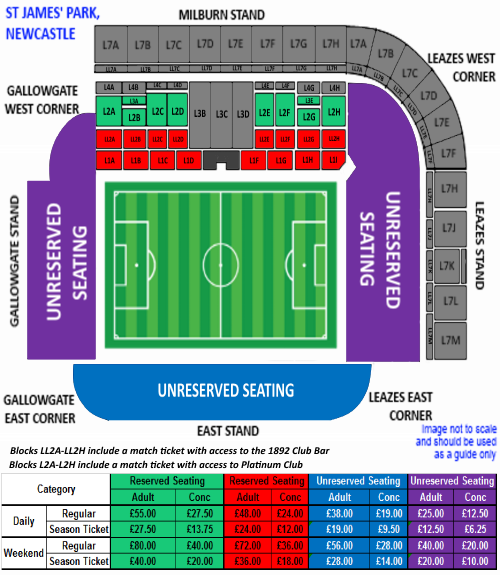 Magic Rugby Weekend 2017 Seating Plan St James' Park Newcastle upon Tyne NE1 4ST