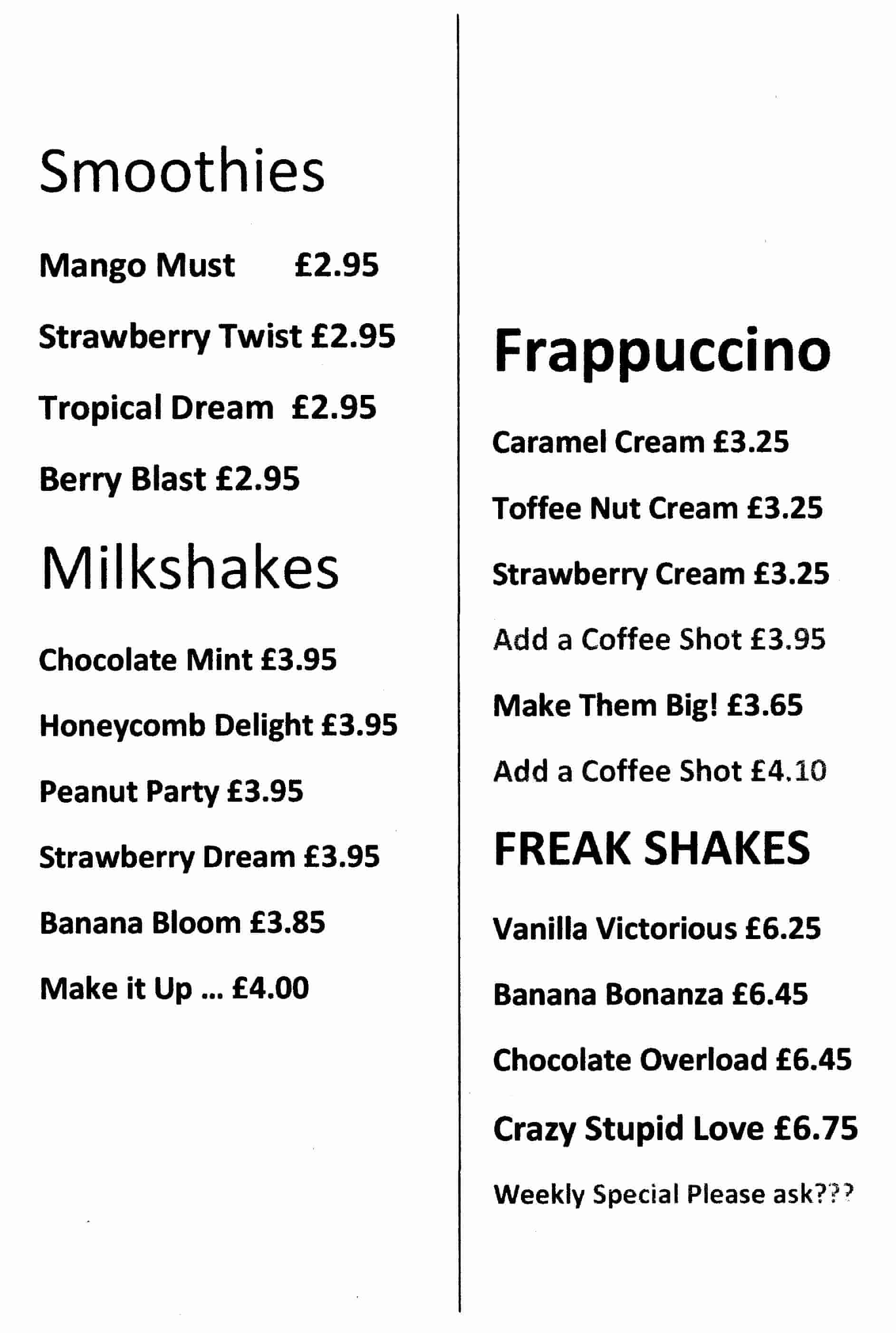 Ghiaccio Ice Cream Parlour & Dessert Lounge 181b Sunderland Road Harton Village South Shields NE34 6AD Menu 1