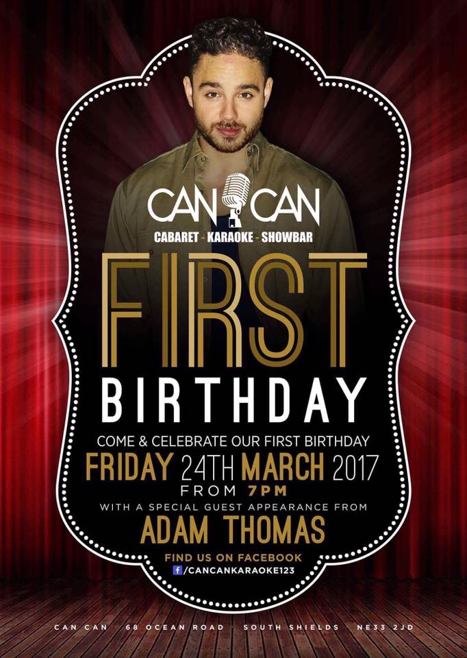 Can Can Bar 68 Ocean Road South Shields NE33 2JD First Birthday Flyer