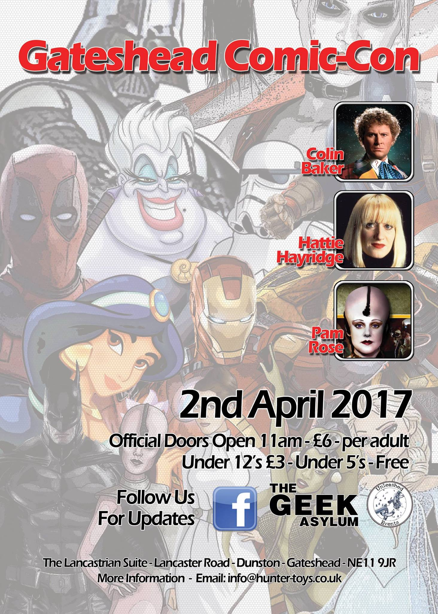 Gateshead Comic Con 2017 Flyer