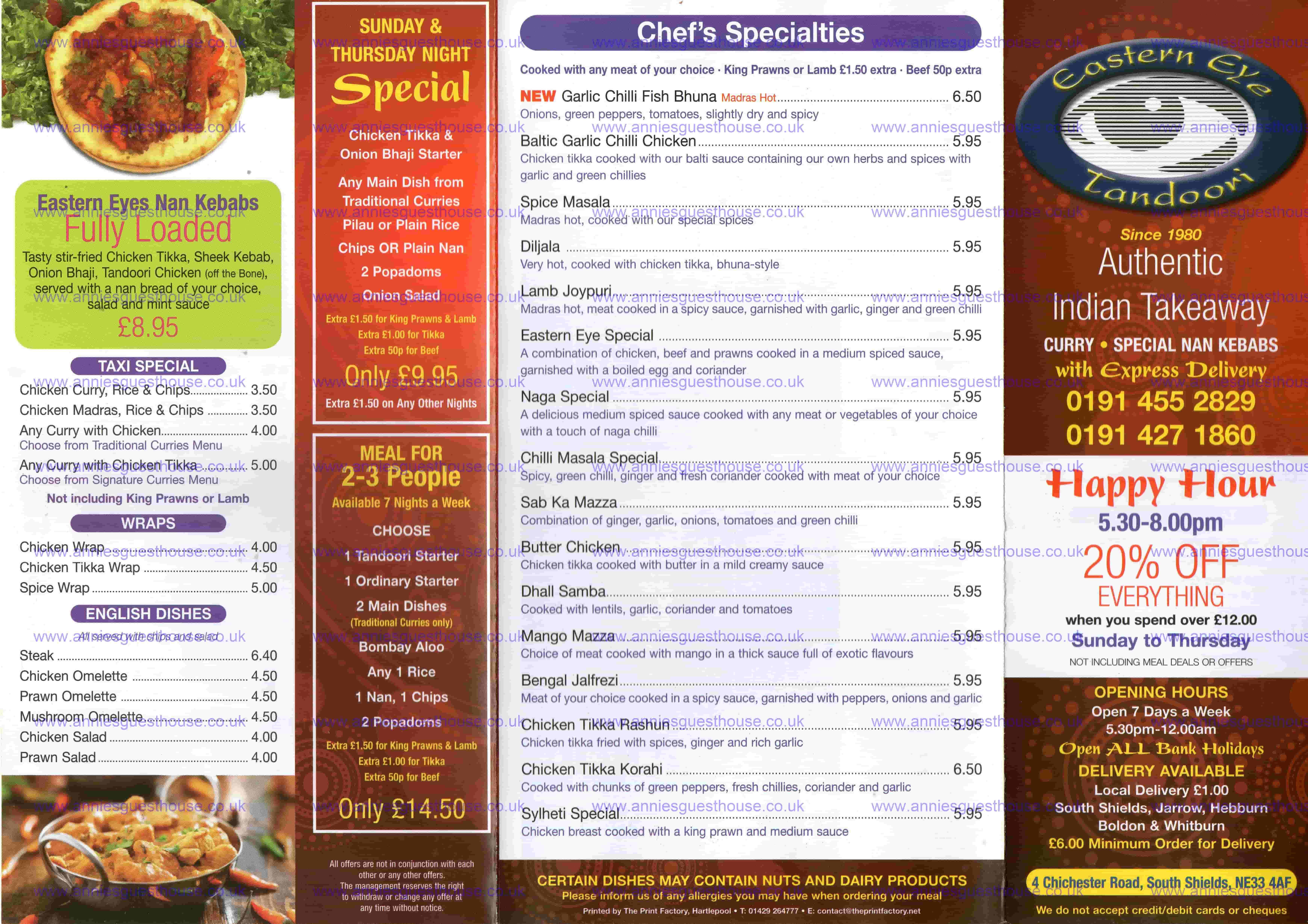Eastern Eye Tandoori 4 Chichester Road South Shields NE33 4AF Menu 1