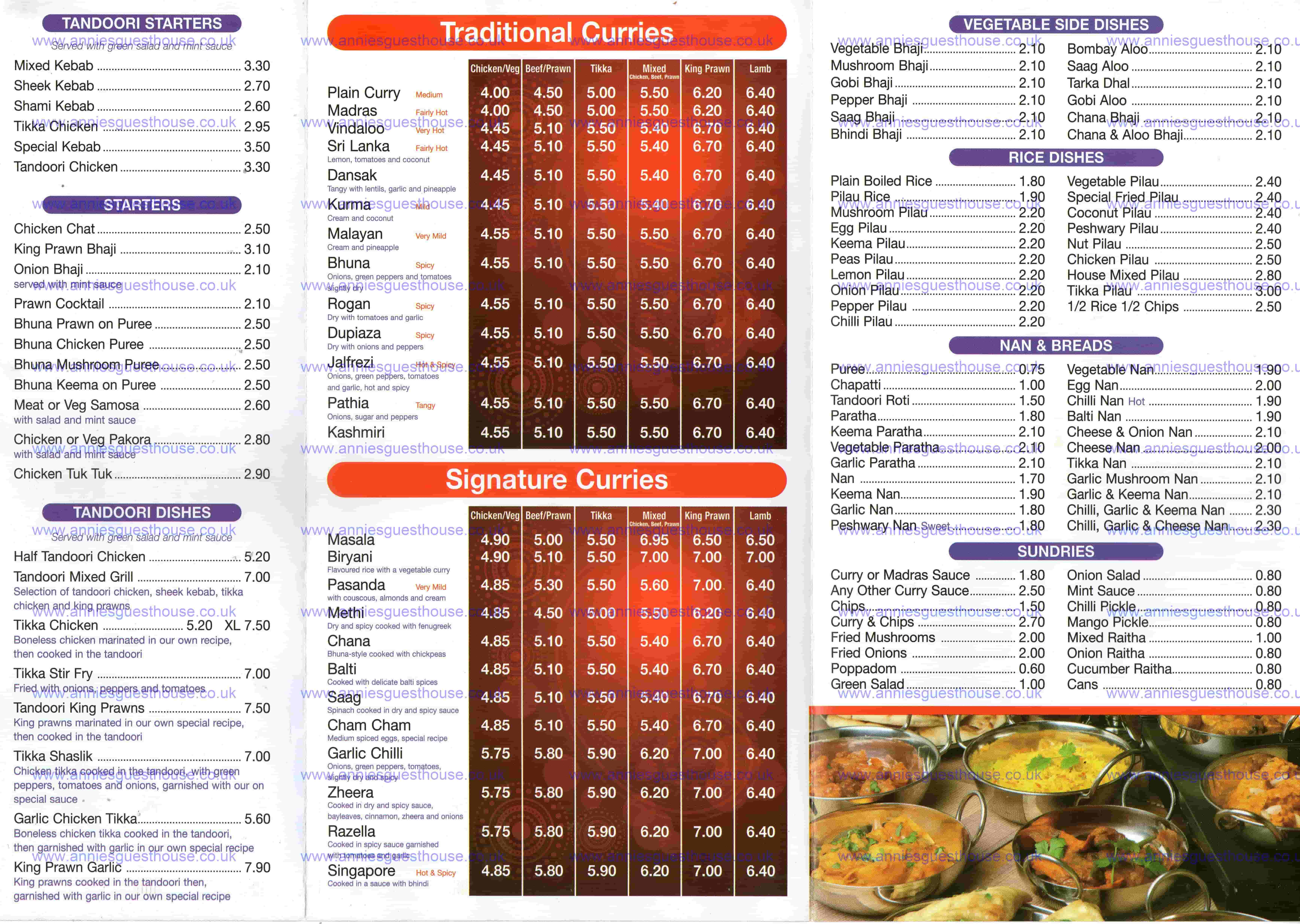 Eastern Eye Tandoori 4 Chichester Road South Shields NE33 4AF Menu 2