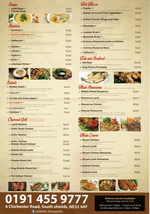 Shields Shawarma 6 Chichester Road South Shields NE33 4AF Menu 2