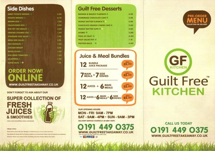 Guilt Free Kitchen & Take-Away Sea Winnings Way Westoe Crown Village South Shields NE33 3PE Menu 1
