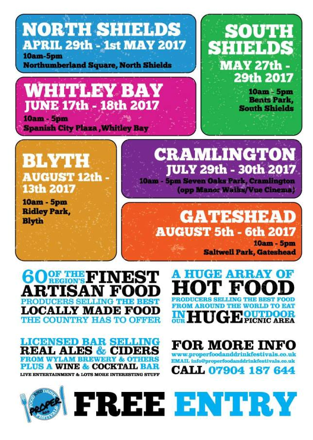 Proper Food And Drink Festival Flyer 2017 Bents Park South Shields NE33 2LD