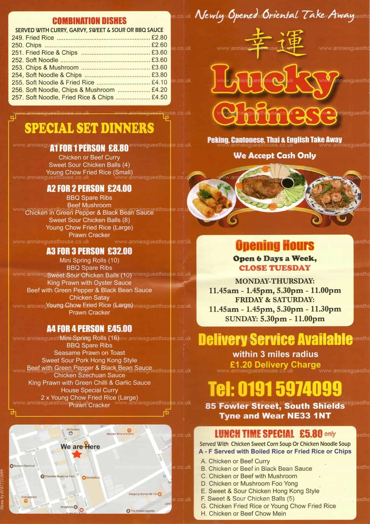 Lucky Chinese 85 Fowler Street South Shields NE33 1NT Menu 1