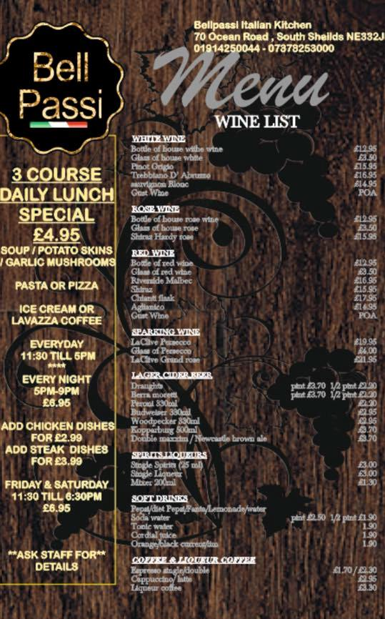 Bell Passi Italian Kitchen 70 Ocean Road South Shields NE33 2JD Menu 1
