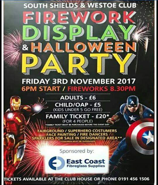 South Shields and Westoe Club Firework Display and Halloween Party 2017