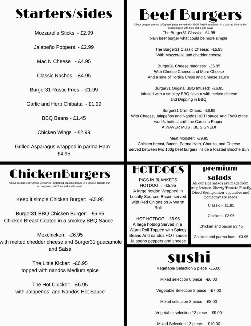 Burger 31 220 Ocean Road South Shields NE33 2JQ Menu