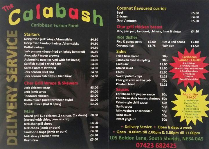 The Calabash 105 Boldon Lane South Shields NE34 0AS New Menu