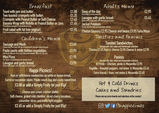 Happiccinos Coffee House 25 Beach Road South Shields NE33 2QA Menu