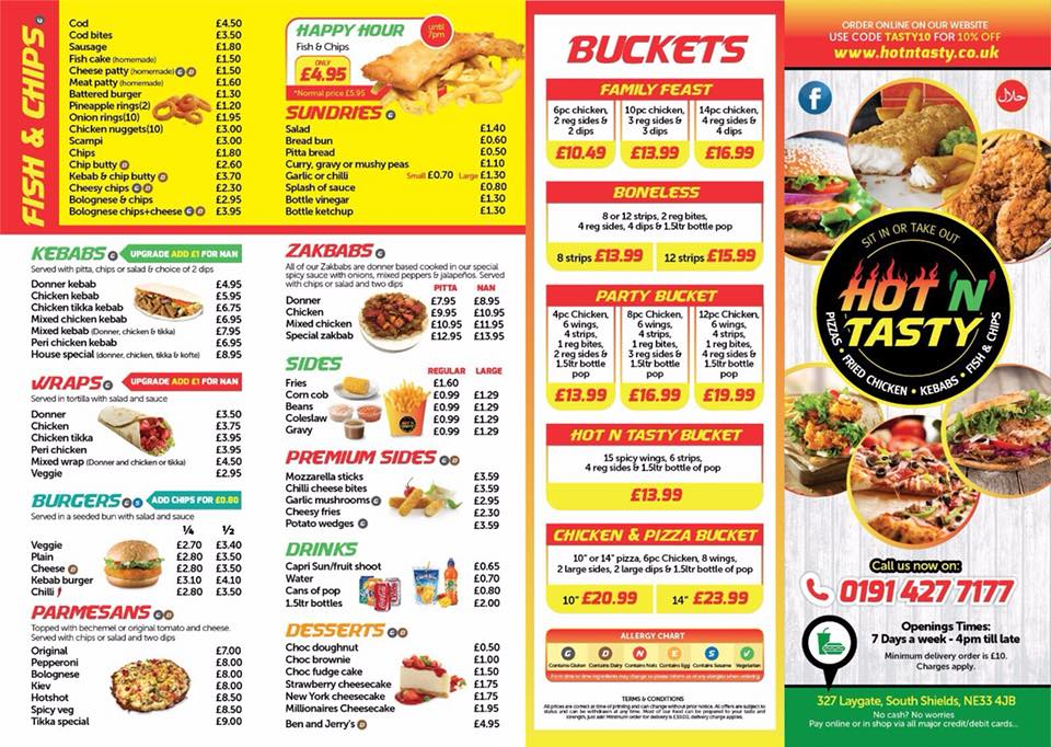 Hot N Tasty 327 Laygate South Shields NE33 4JB Menu 1