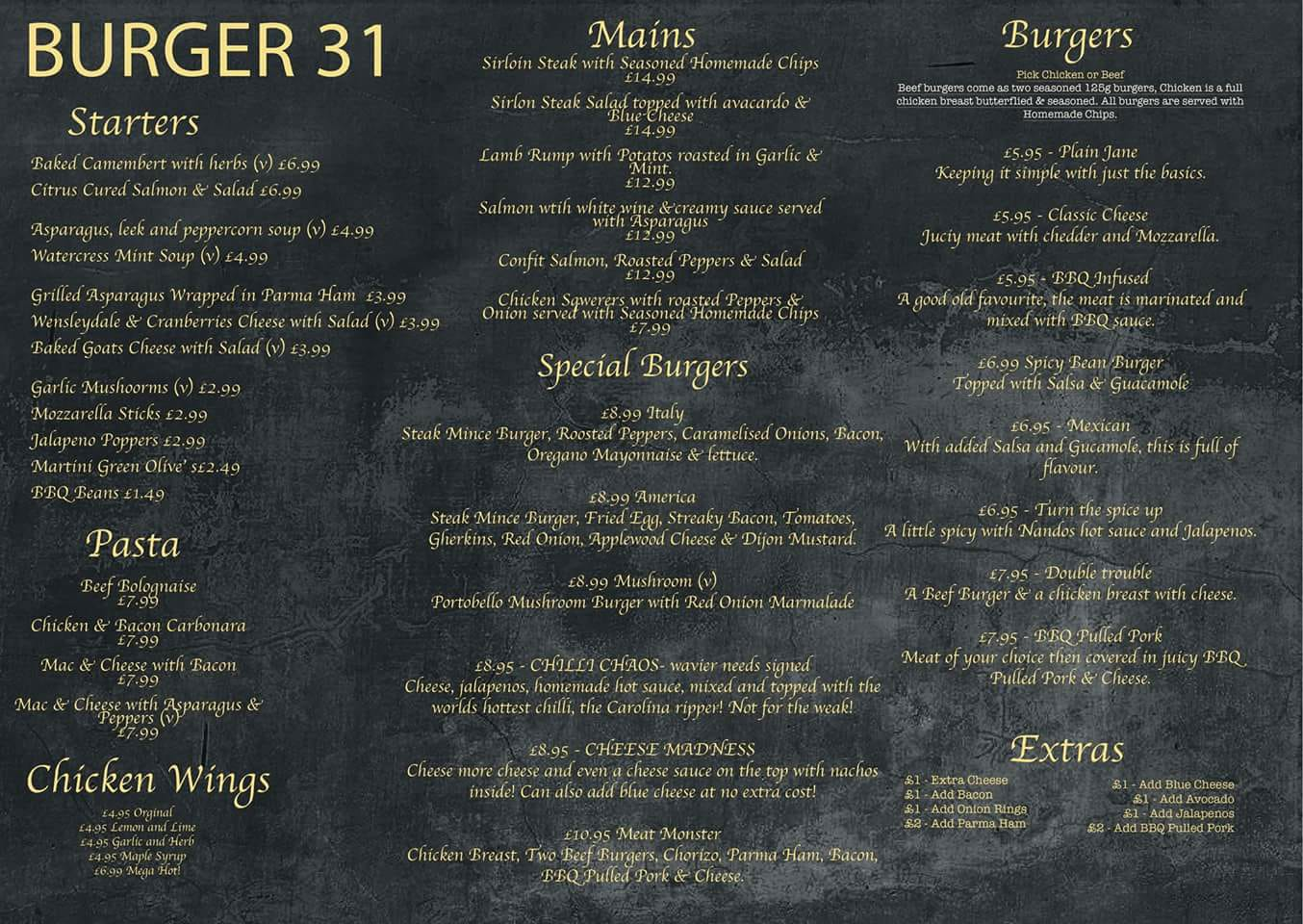 Burger 31 220 Ocean Road South Shields NE33 2JQ New Menu