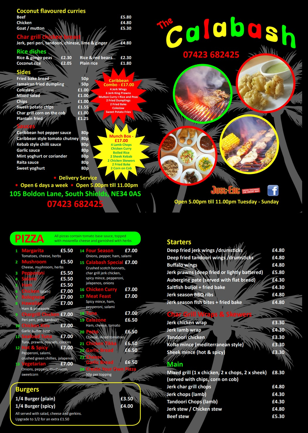 The Calabash 105 Boldon Lane South Shields NE34 0AS New Menu May 2018