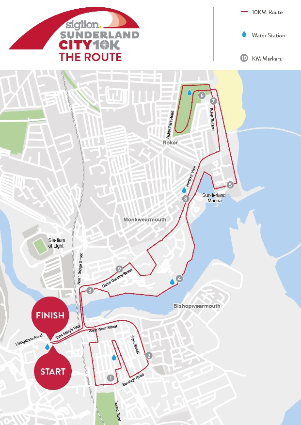 Sunderland 10K Route Map
