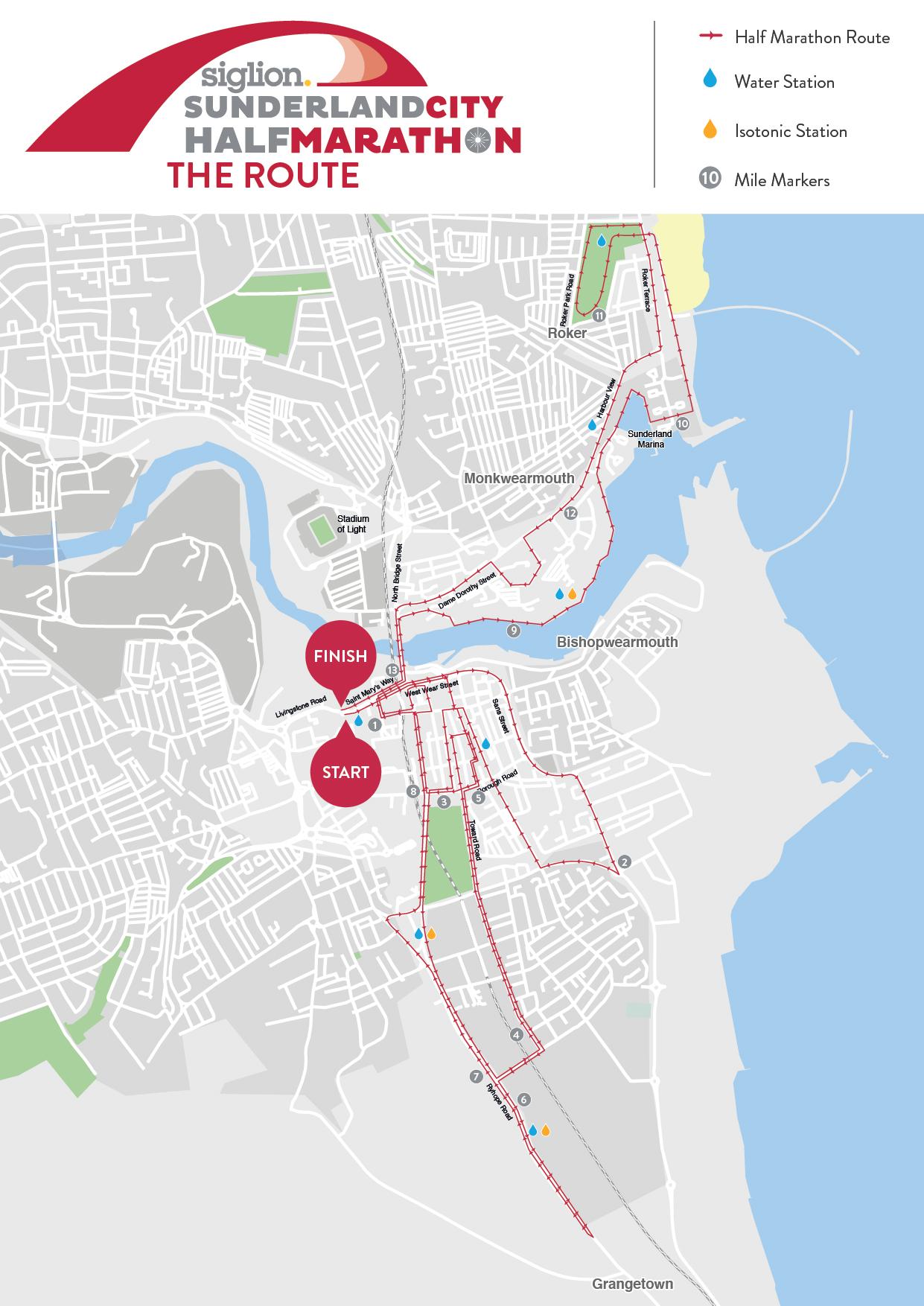 Sunderland Half Marathon Route Map