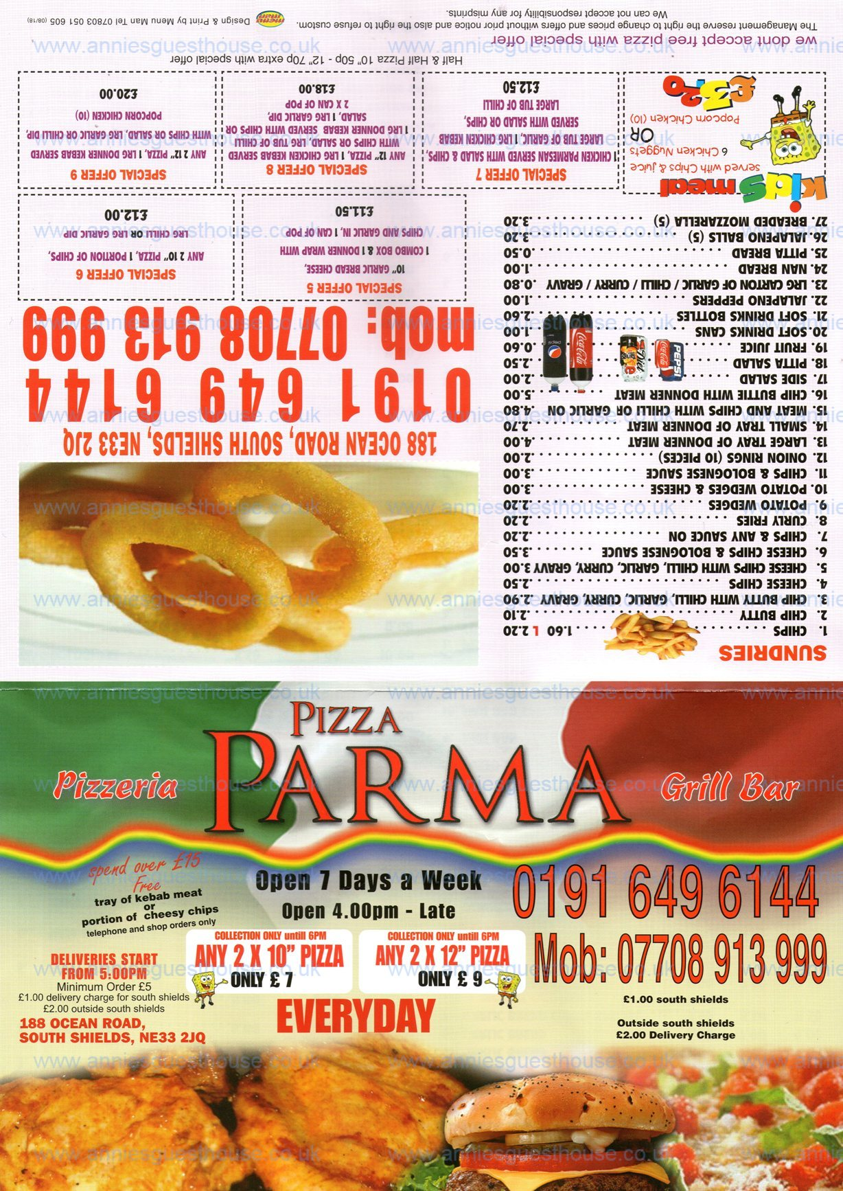 Pizza Parma 188 Ocean Road South Shields NE33 2JQ Menu 1