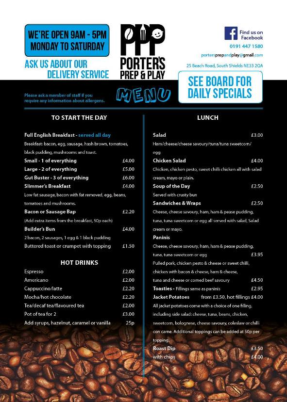 Porters Prep & Play Coffee Shop 25 Beach Road South Shields NE33 2QA Menu 1