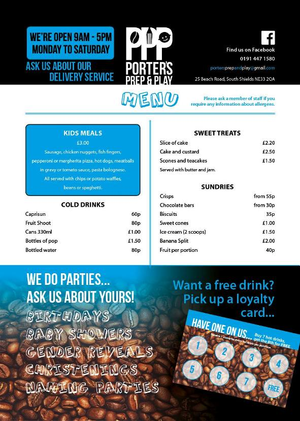 Porters Prep & Play Coffee Shop 25 Beach Road South Shields NE33 2QA Menu 2