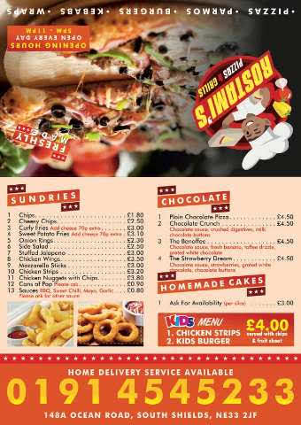Rostami's Takeaway 148A Ocean Road South Shields NE33 2JF 2019 Menu 2