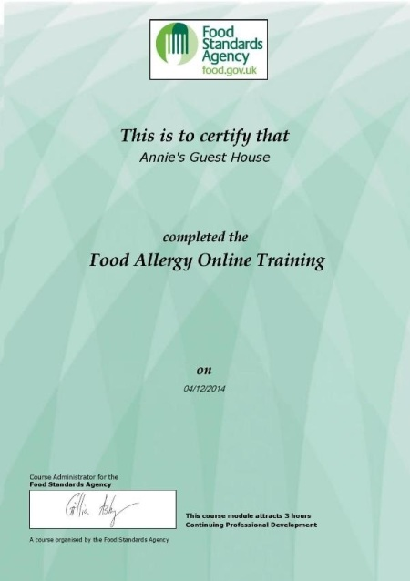 Food Allergy Training Certificate