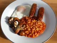 Fried Egg Sausages Baked Beans And Mushrooms