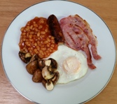 Sausage Grilled Bacon Fried Egg Mushrooms Baked Beans