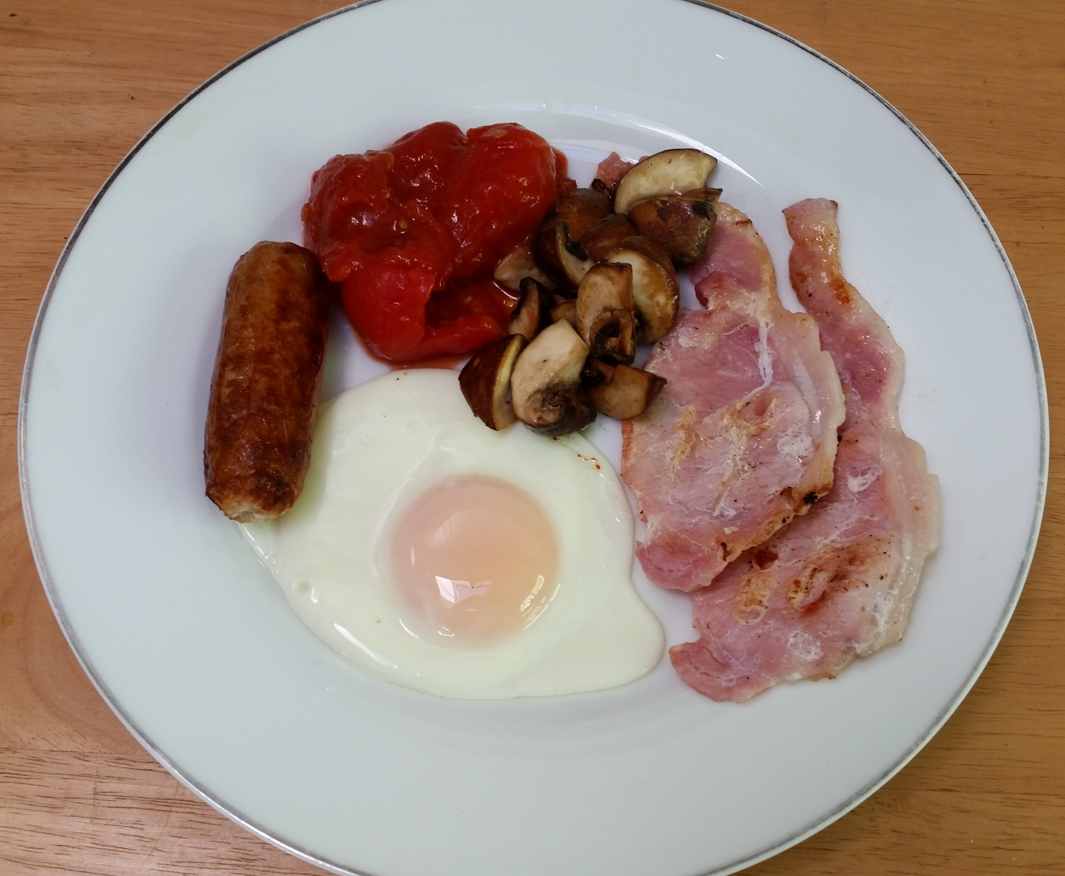 Sausage Tinned Tomatoes Mushrooms Grilled Bacon Fried Egg Large