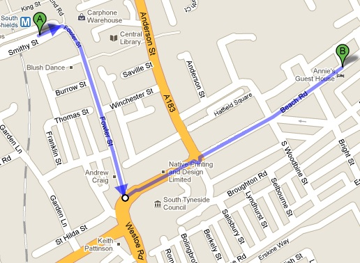 Map to Annie's Guest House from South Shields Bus Station
