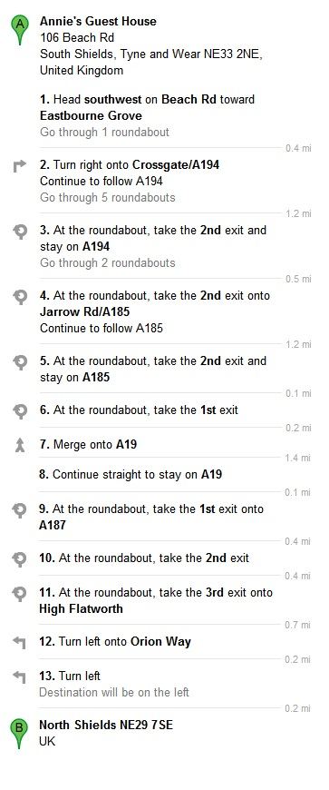 Directions From Our Bed and Breakfast To Maersk Training North Shields NE29 7SE