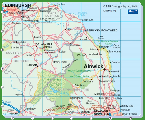 Map Of England Northumbria.Alnwick Northumberland Annie S Guest House
