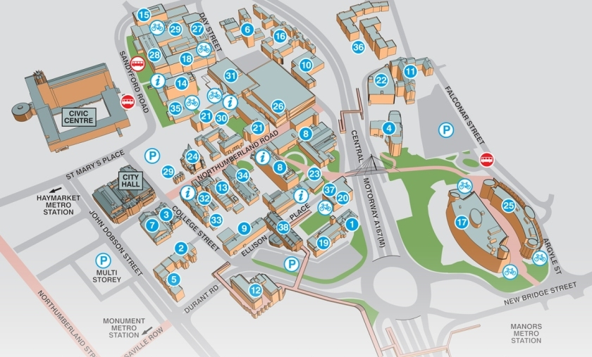 Northumbria University City Campus Map
