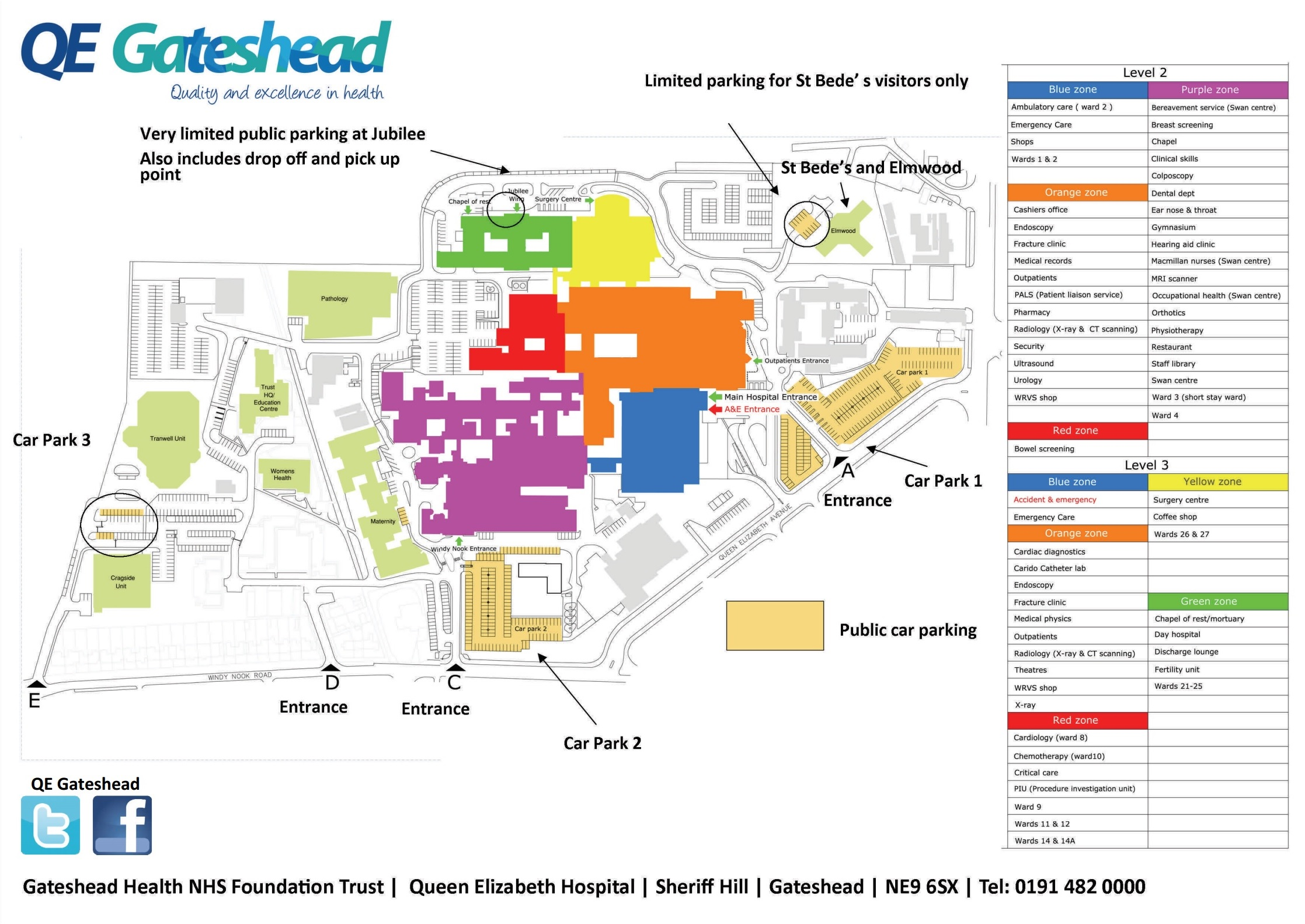 NHS Queen Elizabeth Hospital Gateshead NE9 6SX Car Park Parking Map