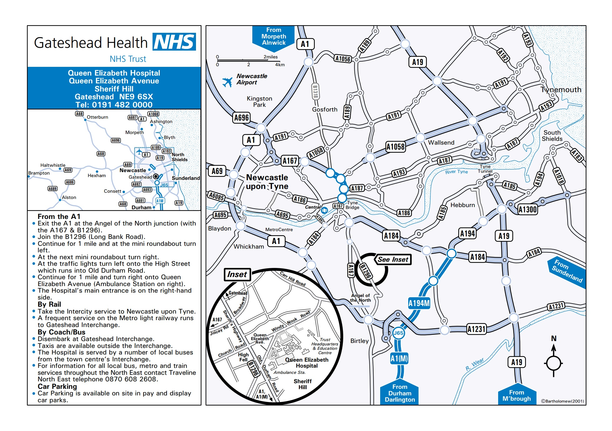 NHS Queen Elizabeth Hospital Gateshead NE9 6SX Driving Map
