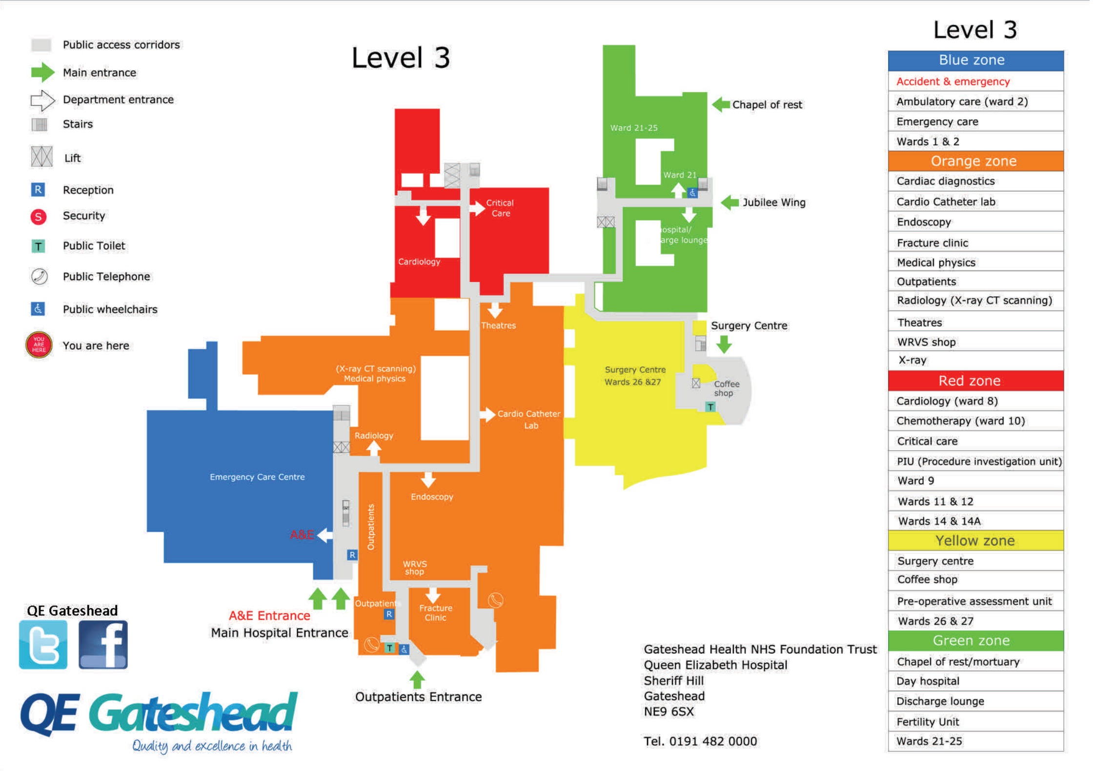 NHS Queen Elizabeth Hospital Gateshead NE9 6SX Level Three Map