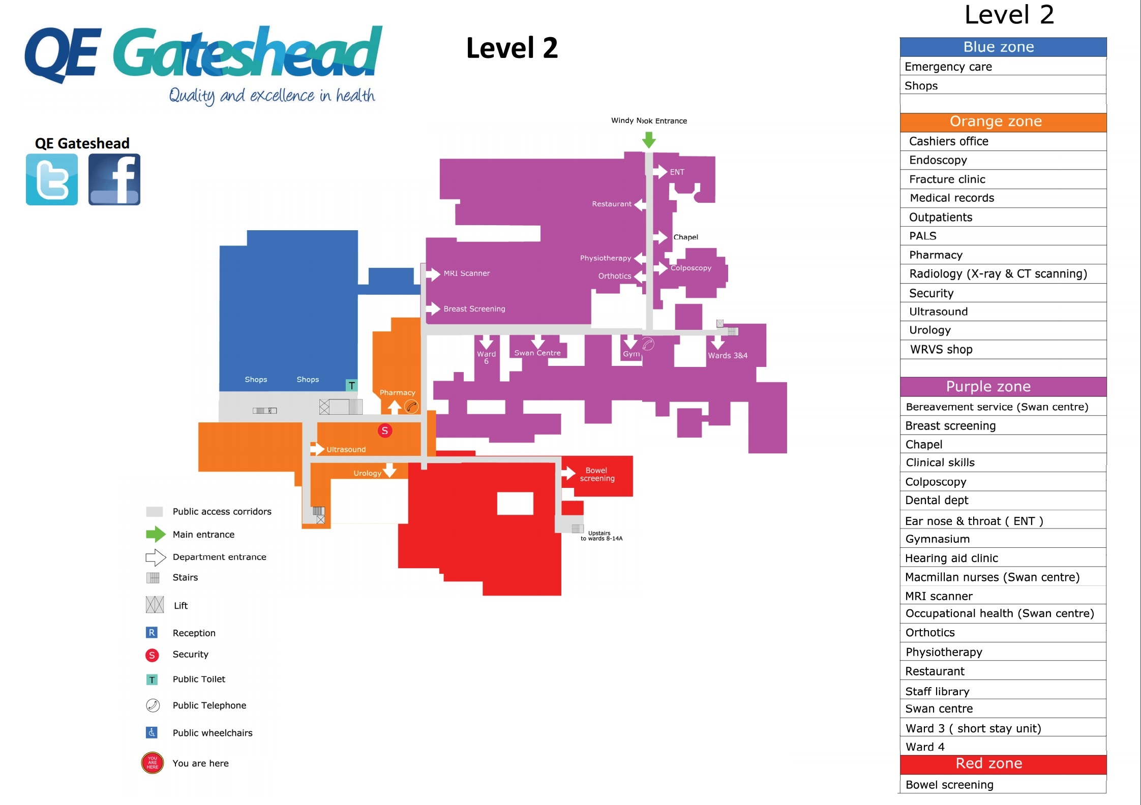 NHS Queen Elizabeth Hospital Gateshead NE9 6SX Level Two Map