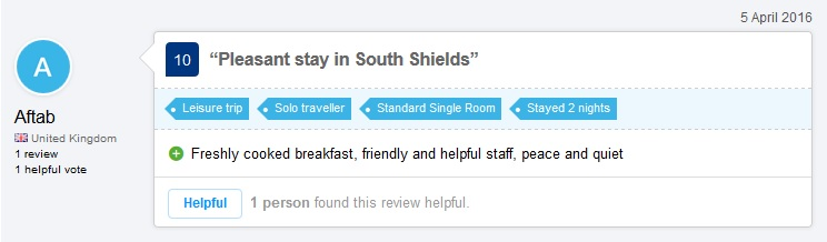 Annie's Guest House In South Shields Latest Review