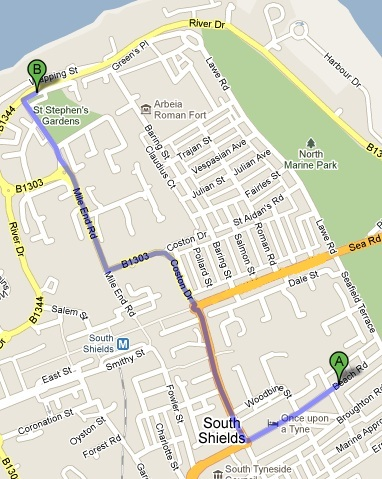 Directions to our accommodation near Marine Safety Training Centre, Wapping Street, South Shields, NE33 1LQ